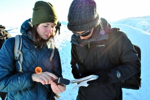 Two of my group members, Audra and Eli, hard at work, recording the location of our samples.